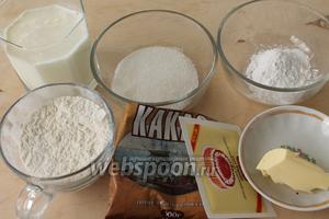 Для десерта нужны: молоко, масло, мука, крахмал, кукуруза, яйцо, какао-порошок и щепотка соли.