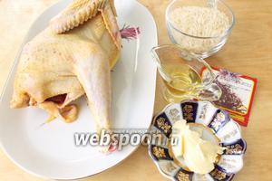 Для плова необходимы курица, рис, масло оливковое и сливочное, шафран и соль.