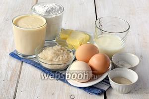Для приготовления теста нам понадобится пахта, яйца, сливочное масло, сахар, соль, дрожжи сухие, молоко, мука.