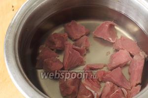 Сначала надо отварить мясо. Нарезать говядину на небольшие кубики, положить в кастрюлю и залить холодной водой. Довести до кипения, снять пену и варить на маленьком огне до готовности. В конце посолить.