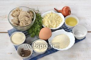 Для приготовления оладий нам понадобится рыбный фарш (у меня — из хека), укроп, лук, яйцо, манка, кукурузная мука, подсолнечное масло, соль, чёрный молотый перец.