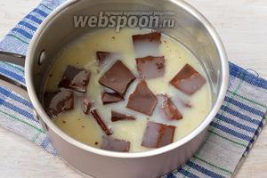 Добавить поломанный на кусочки шоколад. Размешать до полного растворения шоколада. Охладить до комнатной температуры.