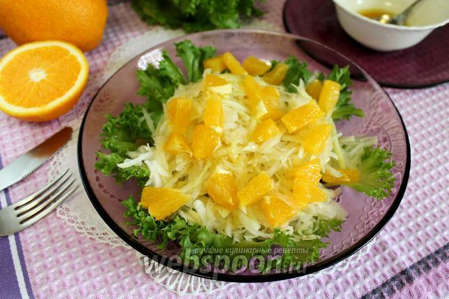 Фото Салат из кольраби и апельсина