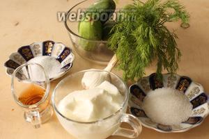 Для салата понадобятся йогурт, огурцы, укроп, уксус рисовый (можно заменить на столовый), сахар, соль и зубчик чеснока.