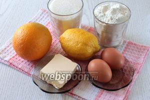 Для приготовления пирога нам понадобятся яйца куриные, мука пшеничная, масло сливочное, вода, сахар, апельсины, лимон и пудинг (в пачке 37 г).