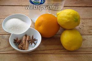 Для приготовления лимонада возьмите: лимоны, апельсин, сахар, звёздочки бадьяна, палочку корицы, сильногазированную воду, питьевую воду. По желанию можно добавить мяту.