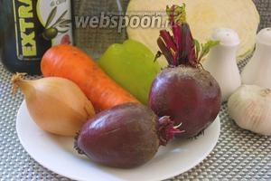 Для приготовления салата нам необходимо взять: свёклу, капусту белокочанную, морковь, лук репчатый, чеснок, болгарский перец (можно замороженный), кинзу, соль, перец, уксус, растительное масло.