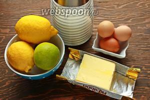 Для лимонно-лаймового курда, надо: лимоны, лаймы, яйца, сахар, масло, тимьян.