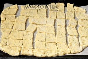 Раскатать тесто толщиной  1 сантиметр. Перенести в форму для выпечки на пекарскую бумагу и порезать на кусочки размером приблизительно 2х2 сантиметра.