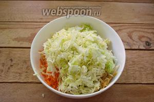 Белокочанную капусту нашинкуйте тонко. Посыпьте солью. Пожмите руками. Капуста пустит сок. Добавьте капусту в салат.