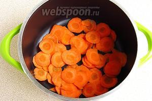 На дно толстостенной посуды выложить слой моркови.