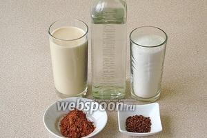Для приготовления ликёра нужно взять молоко концентрированное стерилизованное, сахар, какао-порошок, растворимый кофе и водку.
