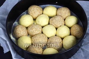 Выкладываем шарики в форму, предварительно выстланную бумагой для выпечки и присыпанную мукой или семолиной, чтобы тесто не прилипло.
