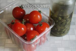 Для дополнения при запекании взять помидоры черри и маринованные каперсы.
