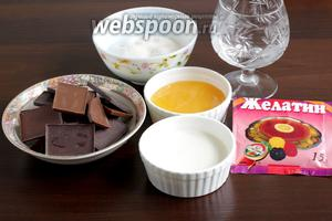 Для зеркальной глазури возьмём шоколад или какао, воду, мёд, сливки, желатин, сахар.