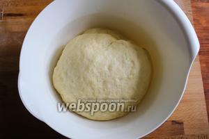 Переложите тесто в миску, накройте плёнкой и дайте ему расстояться около 1,5 часа.