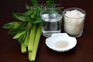 Для приготовления кваса из ревеня и мяты нам понадобится ревень, вода, сахар, мята, дрожжи сухие.