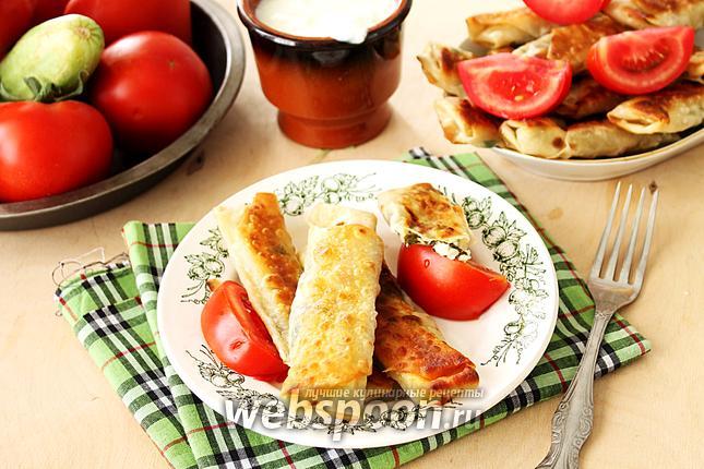 Фото Блинчики из лаваша с начинкой из сыра и зелени