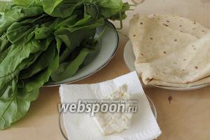 Нам понадобятся армянский лаваш, брынза, свежая зелень и масло для жарки.