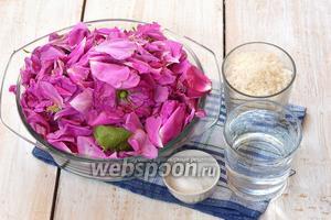 Для приготовления сиропа из лепестков розы нам понадобится сахар, вода, лимонная кислота, лепестки роз.