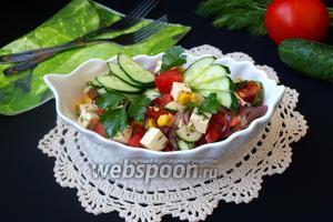 Овощной салат с брынзой и кукурузой