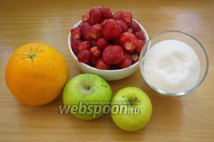 Для приготовления джема нам нужно: клубника, апельсин, яблоки и сахар.