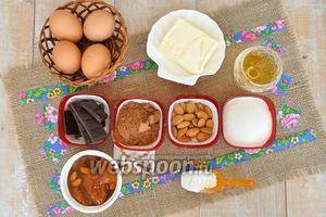 Приготовим необходимые продукты: яйца, масло, сахар, какао, шоколад, коньяк для коржей, пропитки и глазури, варенье абрикосовое (у меня собственного приготовления) муку и разрыхлитель. Для глазури: горький шоколад, молоко, масло, коньяк. Для декора: горький шоколад.