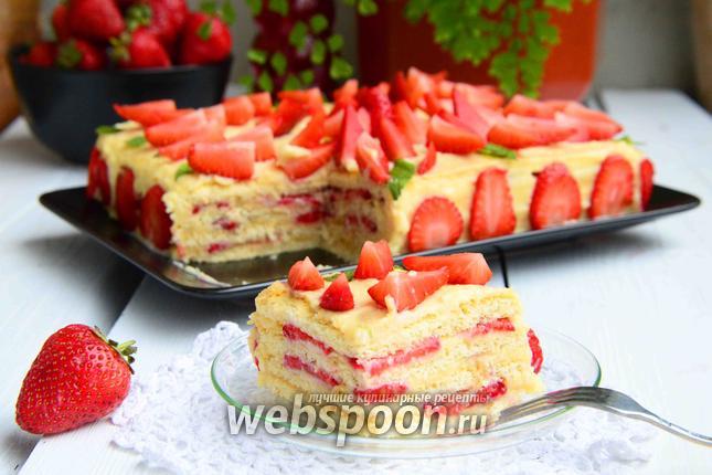 Фото Песочный торт с клубникой