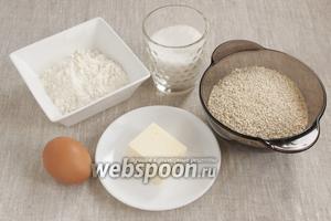 Основные продукты для приготовления печенья это кунжут, мука, сахар, масло сливочное, яйцо.