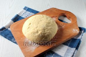 Добавляя частями муку, замесить упругое, не липнущее к рукам тесто. Очень крутым тесто не должно быть. Чтобы пирожки были воздушные, лучше добавить муку при раскатывании теста. Тесто накрыть и оставить отдохнуть на 10 минут.