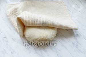 Вынуть тесто из хлебопечки, накрыть полотенцем и оставить «отдохнуть» мин 15.