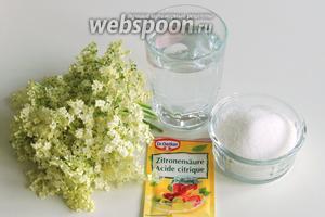 Подготовим ингредиенты: свежесобранные соцветия бузины чёрной, кислота лимонная, сахар и вода.