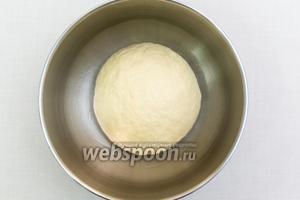 Замесим мягкое, эластичное тесто. Муки может понадобиться больше или меньше указанного количества. Выкладываем его в миску, смазанную маслом, и накрываем плёнкой. Ставим в тёплое место на 30 минут. Через 30 минут тесто обминаем и оставляем ещё на 30-40 минут.