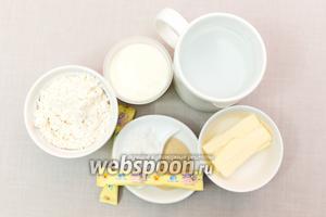 Для приготовления нам понадобятся: соль, сахар, мука, йогурт, вода, сливочное масло, дрожжи.