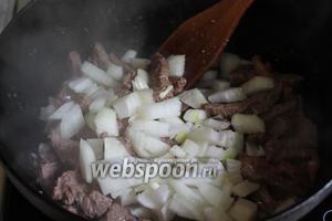 К мясу добавляем лук, перемешиваем и даём слегка обжариться.