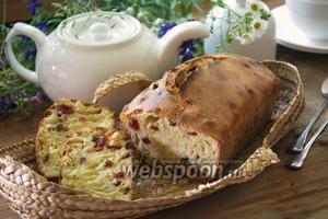 Кекс на кефире с изюмом и сушёной вишней