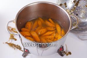 Поместить морковь в маринад, дать остыть и поставить в холодильник на 1-2 суток.