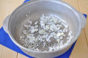 В сотейник налить масло и обжарить нарезанный мелко лук и чеснок до прозрачности.