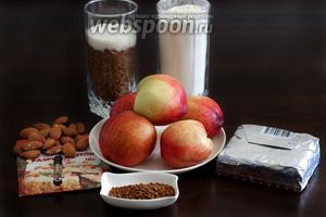 Для приготовления пирога возьмём персики или нектарины, миндаль, разрыхлитель, миндальный экстракт (его нужно всего несколько капель), кофе растворимый, муку, сахар, масло.