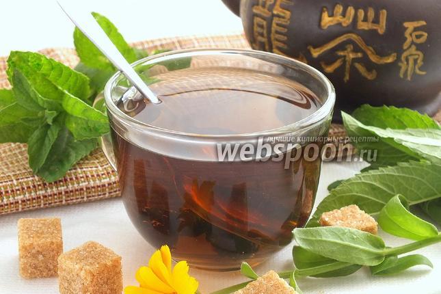Фото Мятный чай с сушёной вишней
