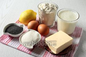 Для приготовления вафель нам понадобятся кефир (у меня был жирностью 3,2%), яйца куриные, масло сливочное, лимон, мука пшеничная, сахар, разрыхлитель и мак.