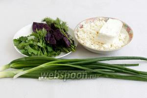 Пока тесто в холодильнике «отдыхает», приготовим начинку. Для начинки потребуются: творог, брынза, зелёный лук, базилик, укроп и кинза.