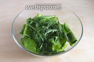 Нарвите руками щавель, шпинат и рукколу, нарубите укроп и петрушку. Добавьте зелень в салат.