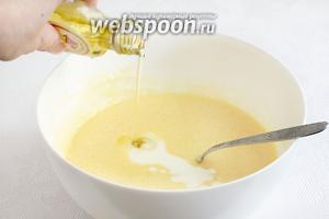Добавить в тесто масло грецкого ореха, кефир.