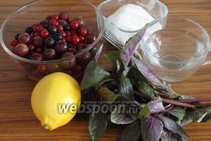 Для шербета нужны свежие ягоды, сахар, лимон и базилик.