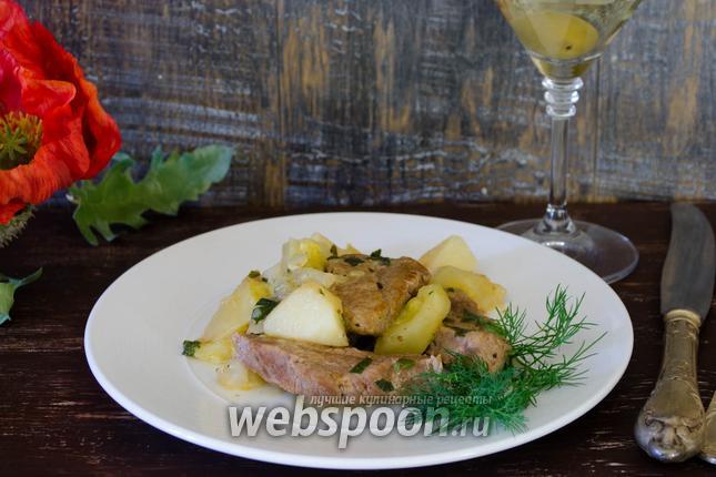 Фото Говядина, тушёная в мартини с овощами