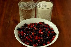 Для приготовления компота нам понадобятся ягоды чёрной и красной смородины, крыжовника, сахар, бутилированная или фильтрованная вода.