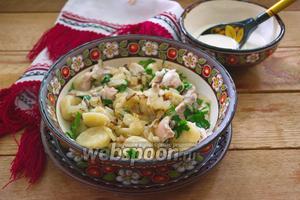 Украинские галушки с курицей и соусом