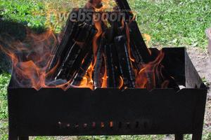 Пока крылышки маринуются подготовим дрова и дадим им прогореть.