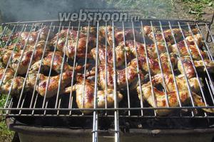 Куриные крылышки «Нежные» на решётке готовы. Подавать с любимыми овощами и соусами. Нам понравилось с кетчупом для шашлыка и гриля. Приятного аппетита!